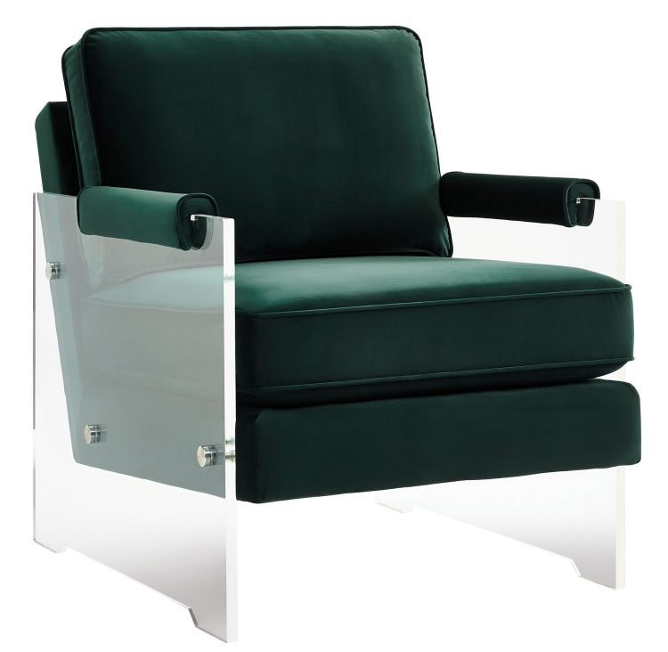 Serena Velvet/Lucite Chair - Green