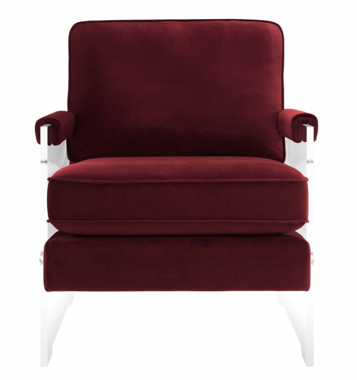 Serena Burgundy Velvet/Lucite Chair