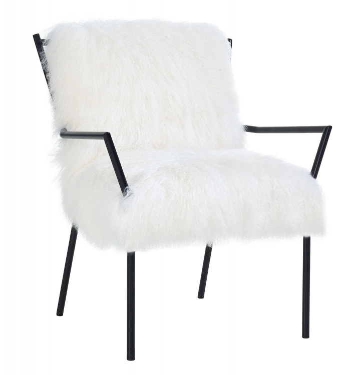 Lena Sheepskin Chair with Black Frame - White