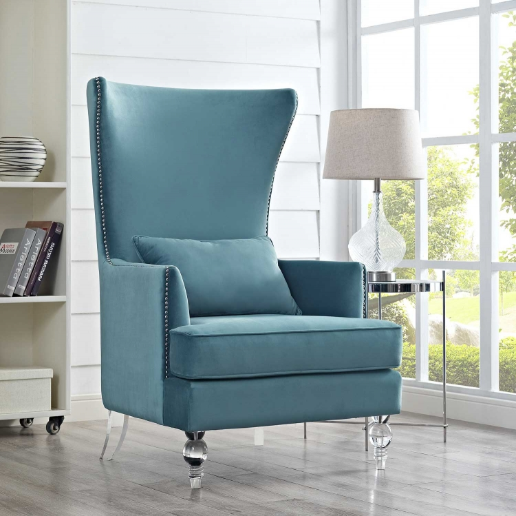 Bristol Chair with Lucite Legs - Sea Blue