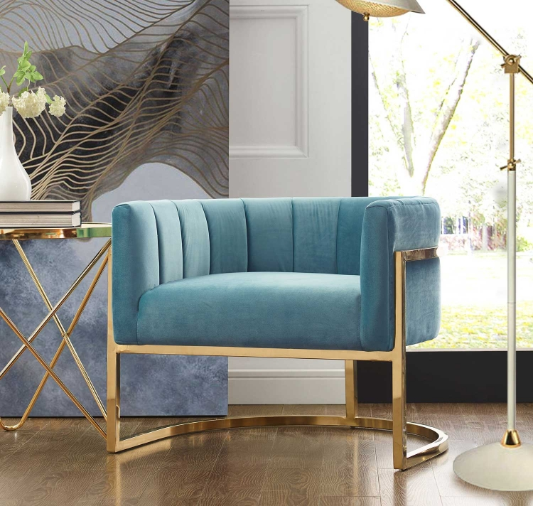 Magnolia Chair with Gold Base - Sea Blue