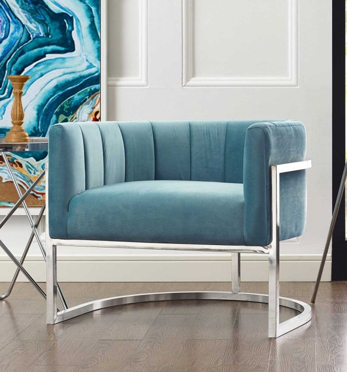 Magnolia Chair with Silver Base - Sea Blue