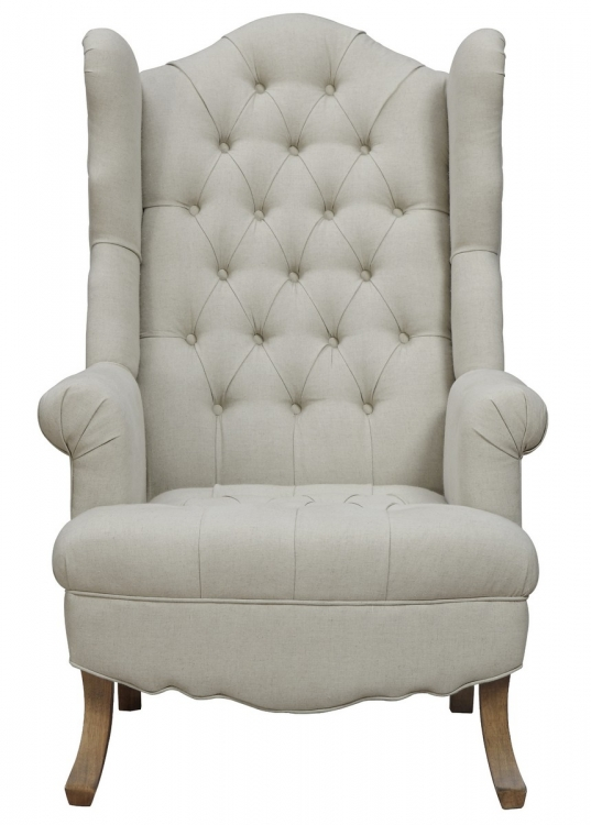 Madison Beige Linen Wing Chair