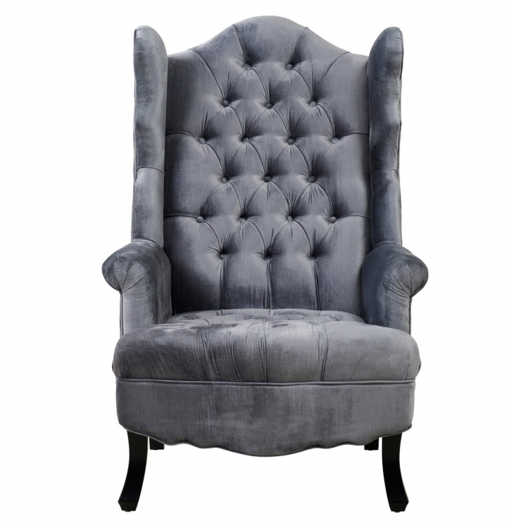 Madison Grey Velvet Wing Chair