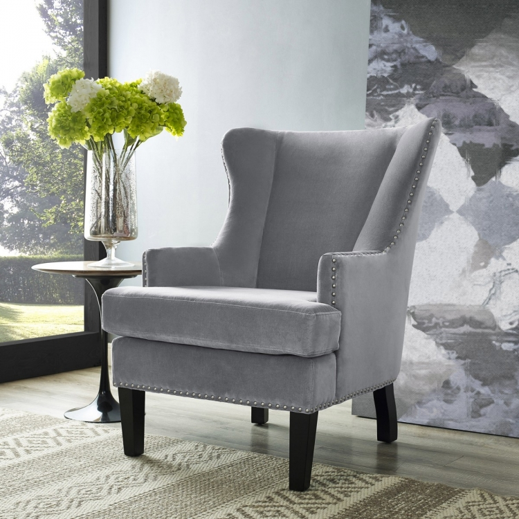Soho Grey Velvet Wing Chair