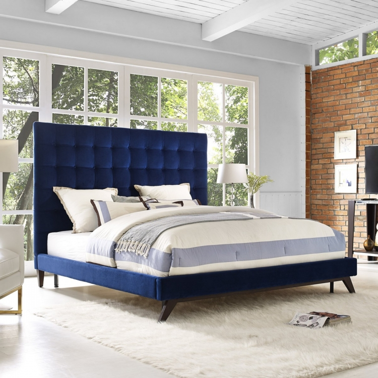 Eden Navy Velvet Bed