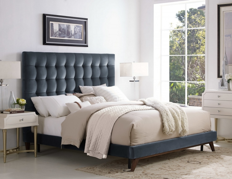 Eden Grey Velvet Bed