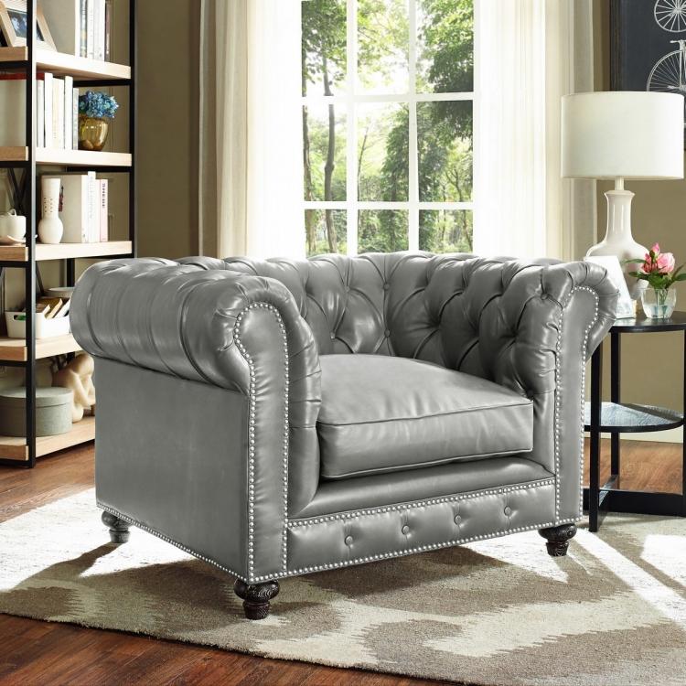 Durango Rustic Grey Leather Club Chair