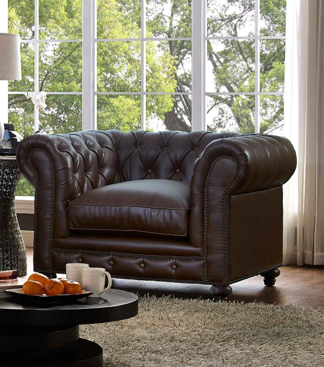 Durango Leather Club Chair - Antique Brown