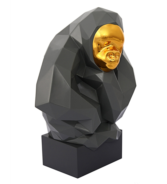 Pondering Ape Large Sculpture - Grey/Gold