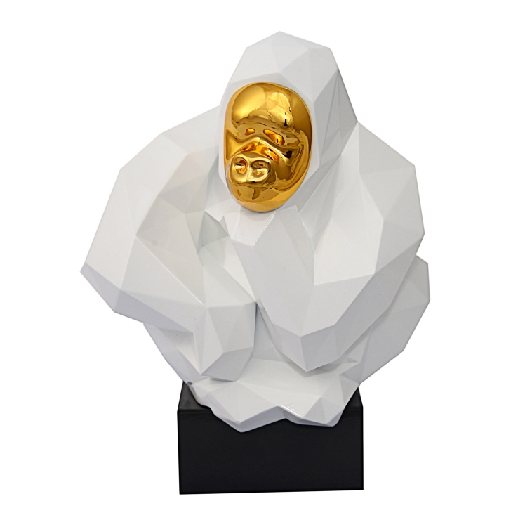 Pondering Ape Large Sculpture - White/Gold
