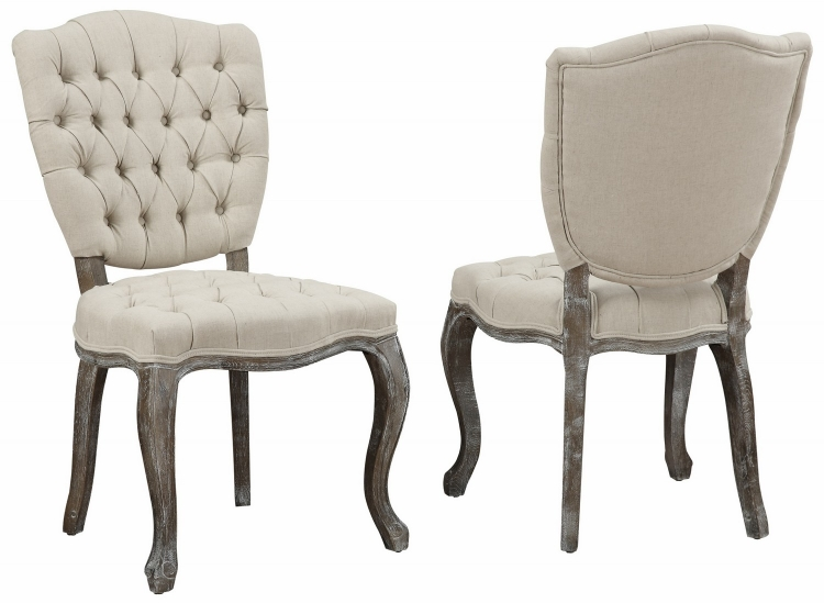 Amelia Beige Linen Weathered Oak Dining Chair - Set of 2