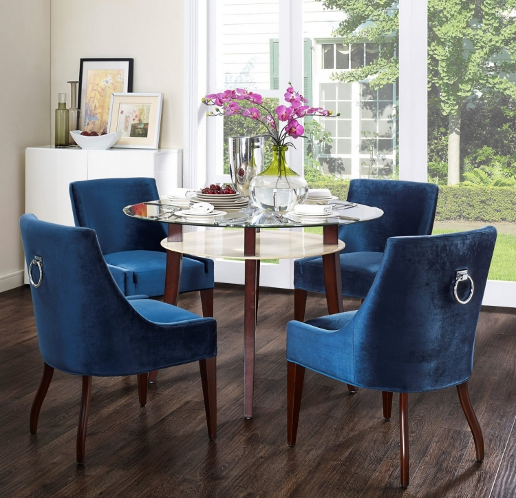 Dover Blue Velvet Chair - Set of 2