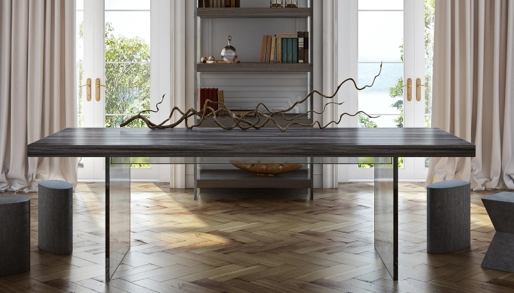 Berlin Pine and Lucite Dining Table - Washed Grey
