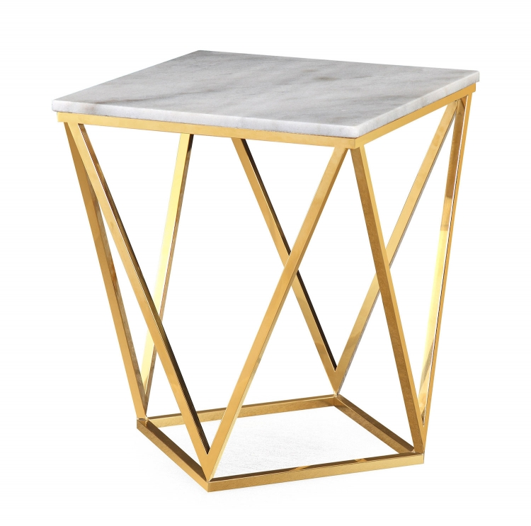 Leopold Side Table - White/Gold
