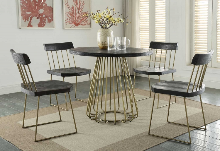Madrid Pine Dining Set - Matte Black