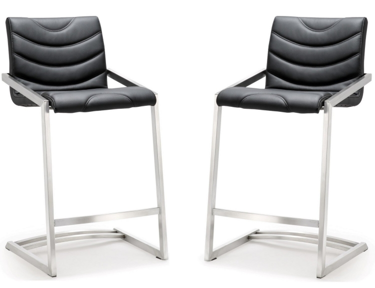 Rio Black Stainless Steel Counter Stool - Set of 2
