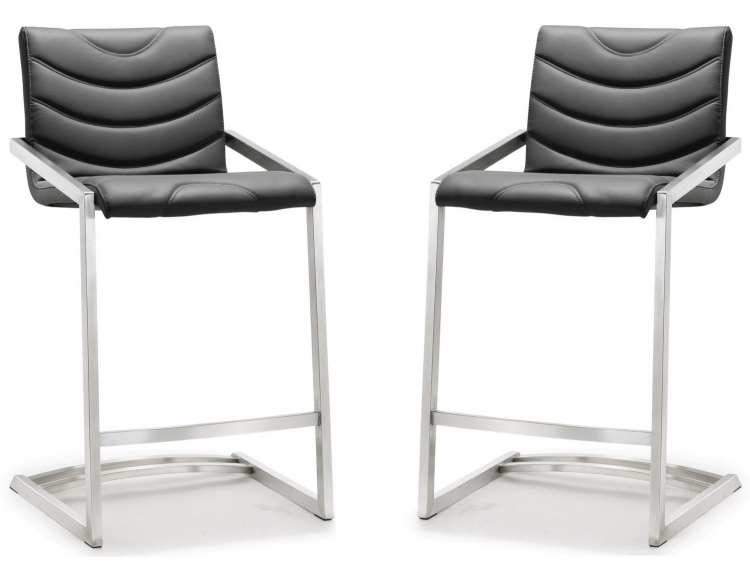 Rio Grey Stainless Steel Counter Stool - Set of 2