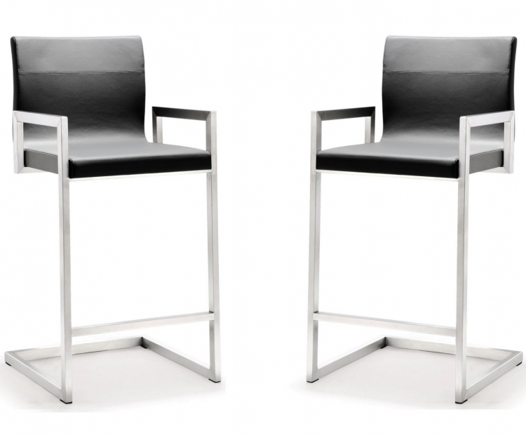 Milano Grey Stainless Steel Counter Stool - Set of 2