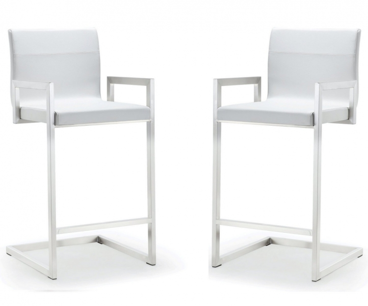 Milano White Stainless Steel Counter Stool - Set of 2
