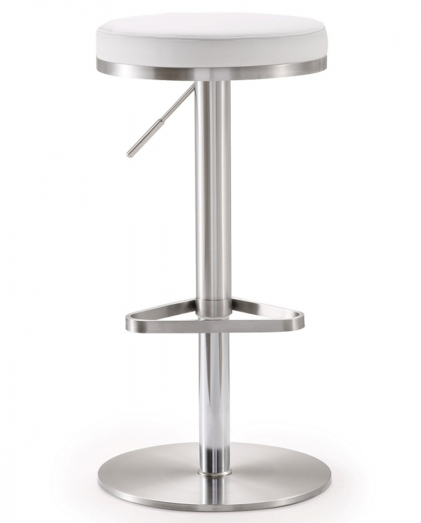 Fano White Stainless Steel Adjustable Barstool