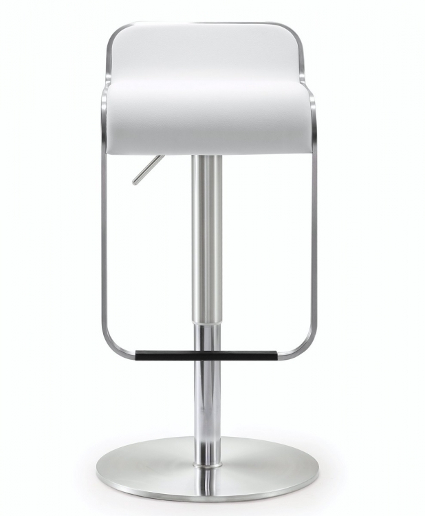 Napoli White Stainless Steel Adjustable Barstool