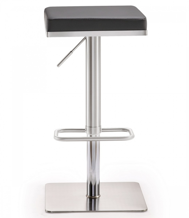 Bari Grey Stainless Steel Adjustable Barstool