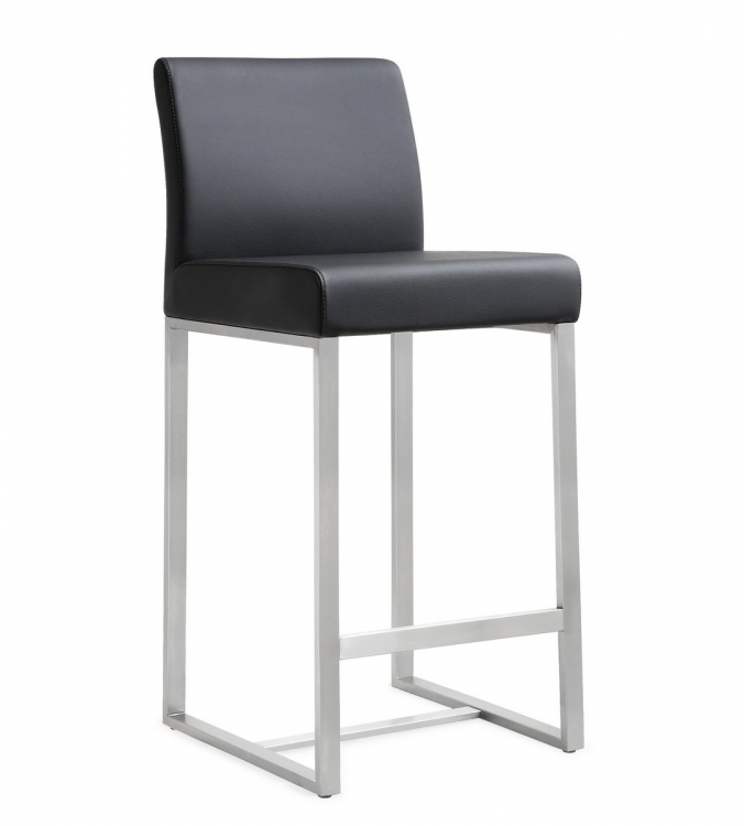 Denmark Black Stainless Steel Counter Stool (Set of 2)