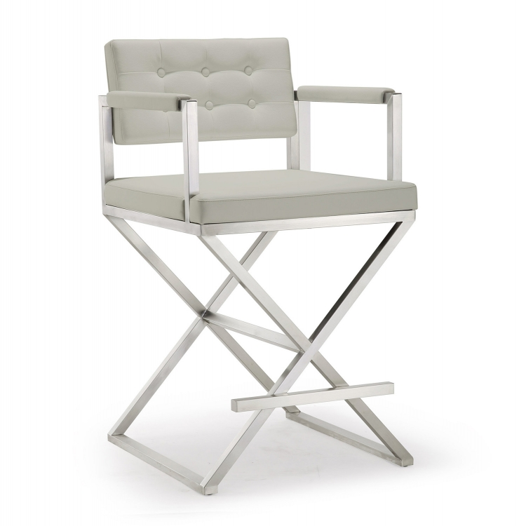 Director Steel Counter Stool - Light Grey