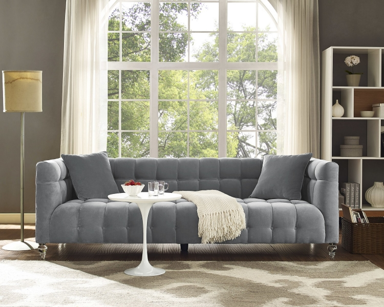 Bea Grey Velvet Sofa