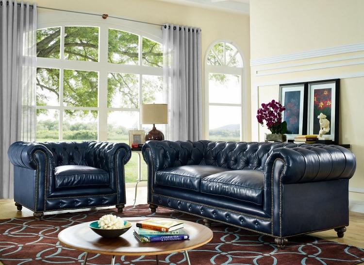 TOV Furniture Durango Rustic Blue Leather Sofa S38 at Homelement.com