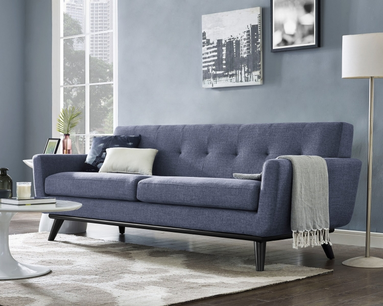 James Blue Linen Sofa