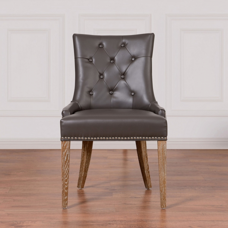 Uptown Grey Leather/Velvet Dining Chair