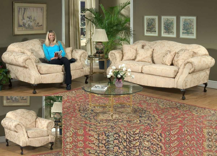 Queen Elizabeth Sofa Set - Madison Straw - Triad Upholstery