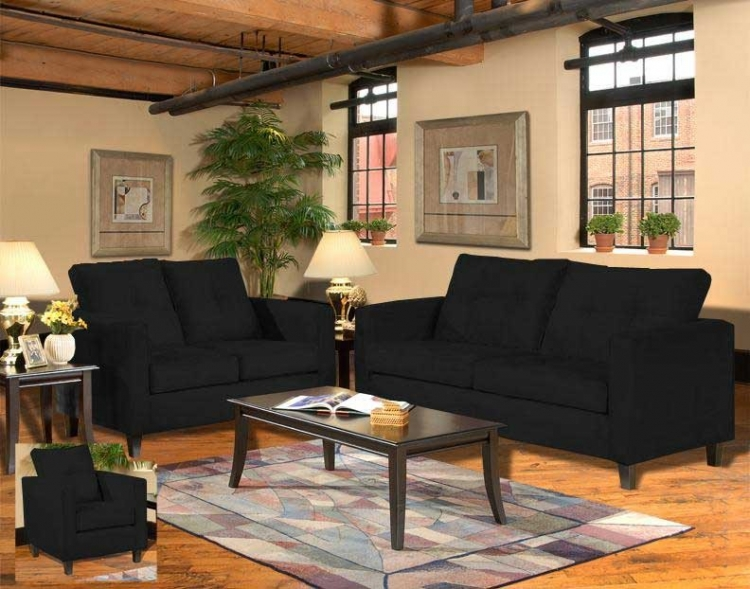 Heather Sofa Set - Bulldozer Black - Triad Upholstery