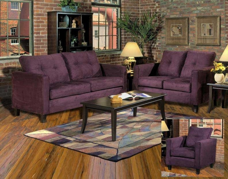 Heather Sofa Set - Bulldozer Eggplant - Triad Upholstery