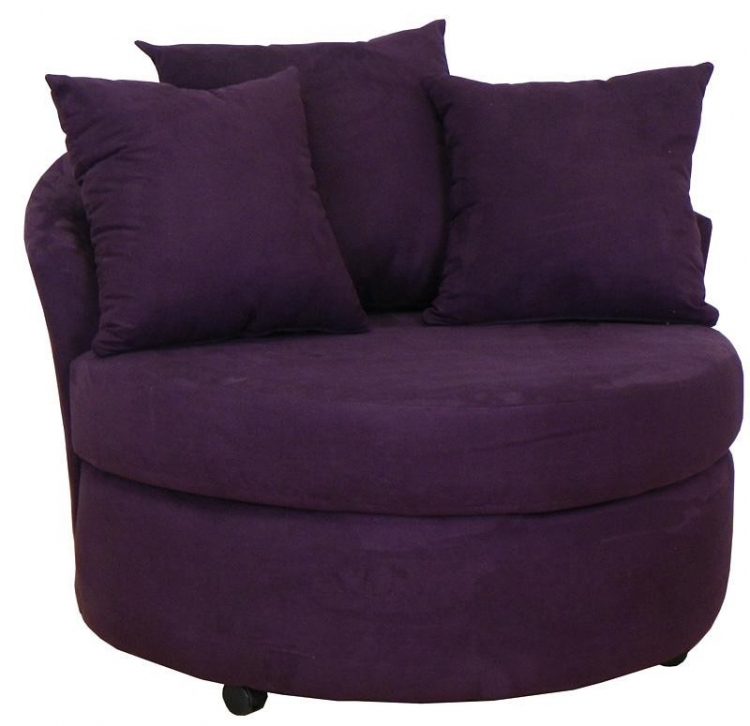 Alexa Swivel Chair - Bull Eggplant - Triad Upholstery