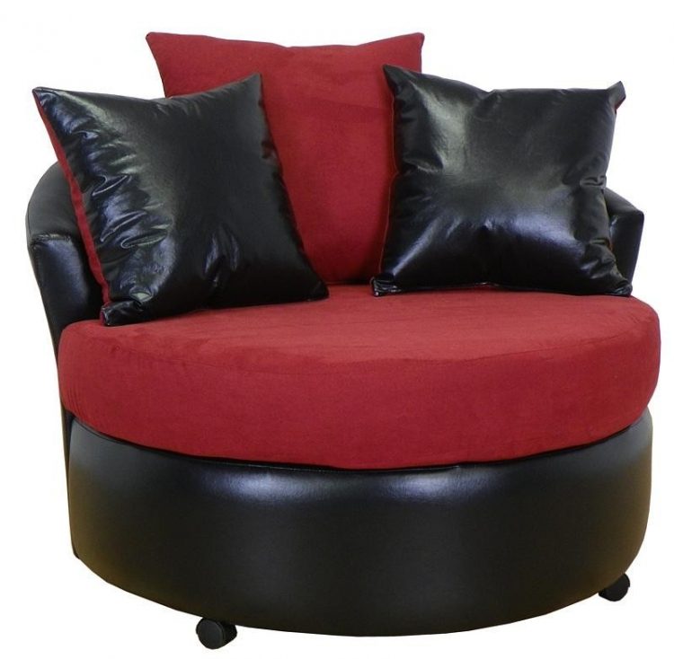Alexa Swivel Chair - Bull Burgendy - Triad Upholstery
