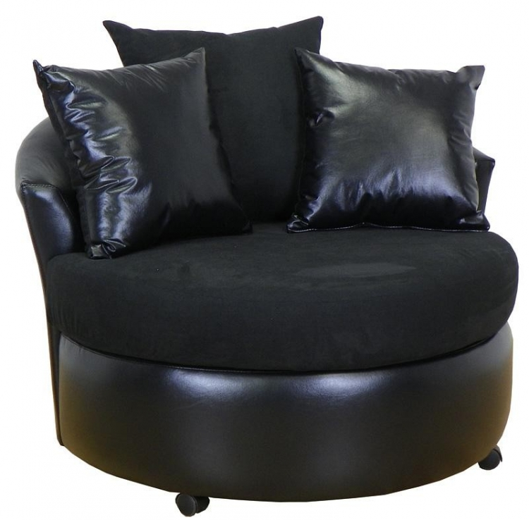 Alexa Swivel Chair - Bull Black - Triad Upholstery