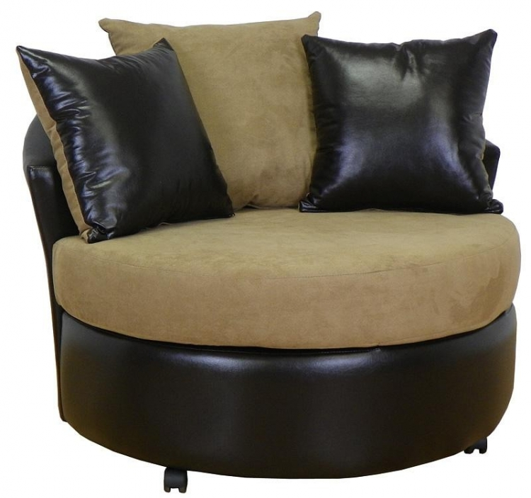 Alexa Swivel Chair - Bull Mocha - Triad Upholstery
