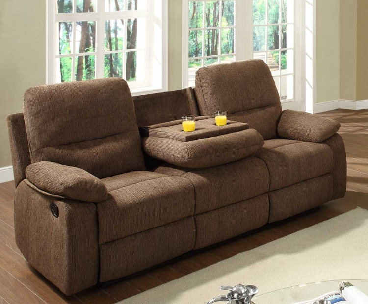 Marianna Double Reclining Sofa with Center Drop-Down Cup Holders - Dark Brown Chenille - Homelegance