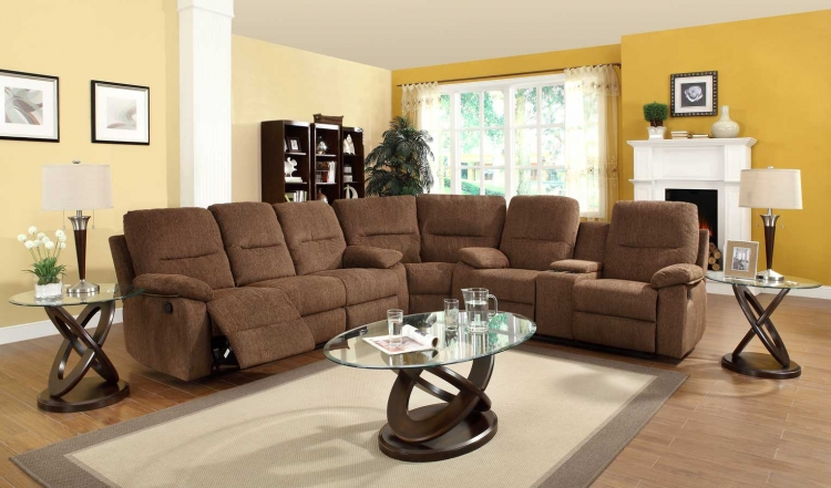 Marianna Modular Reclining Sectional Sofa Set - Dark Brown Chenille - Homelegance