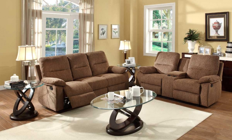 Marianna Reclining Sofa Set - Dark Brown Chenille - Homelegance
