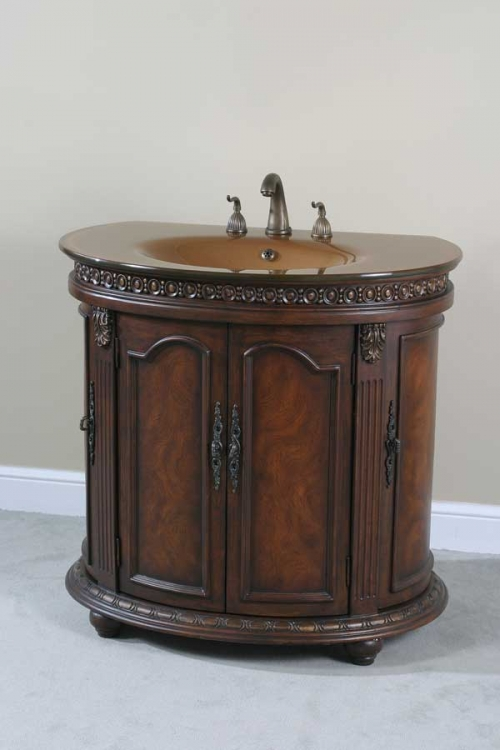 Half Round Walnut Glass Top Vanity - Ultimate Accents