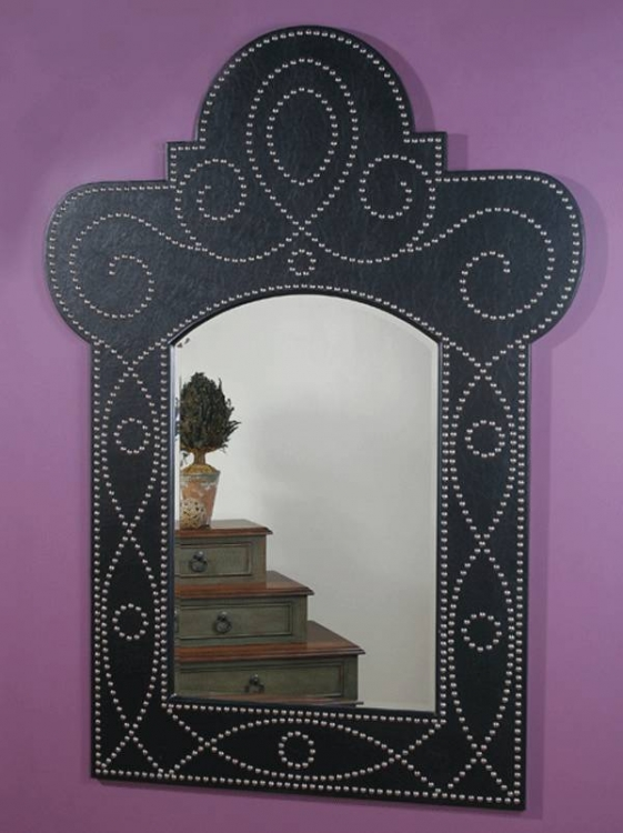 Madrid Black Vinyle Nailhead Mirror - Ultimate Accents