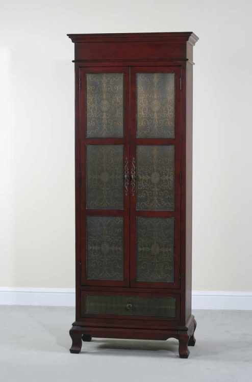Rachel Tall Red Copper Faced Cupboard - Ultimate Accents