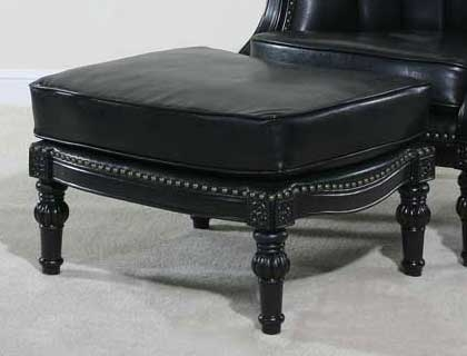 Ultimate Accents Lawrence Ottoman Black Faux Leather