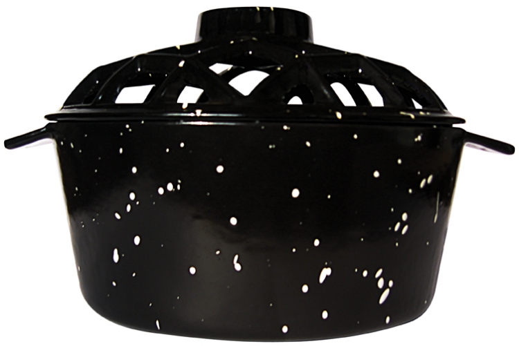 Porcelain Coated Lattice Top Steamer - Black - Uniflame