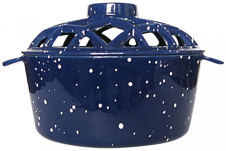 Porcelain Coated Lattice Top Steamer - Blue - Uniflame