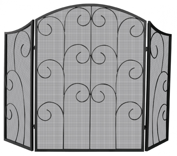 3 Panel Black Wrought Iron Screen With Decorative Scroll - Uniflame